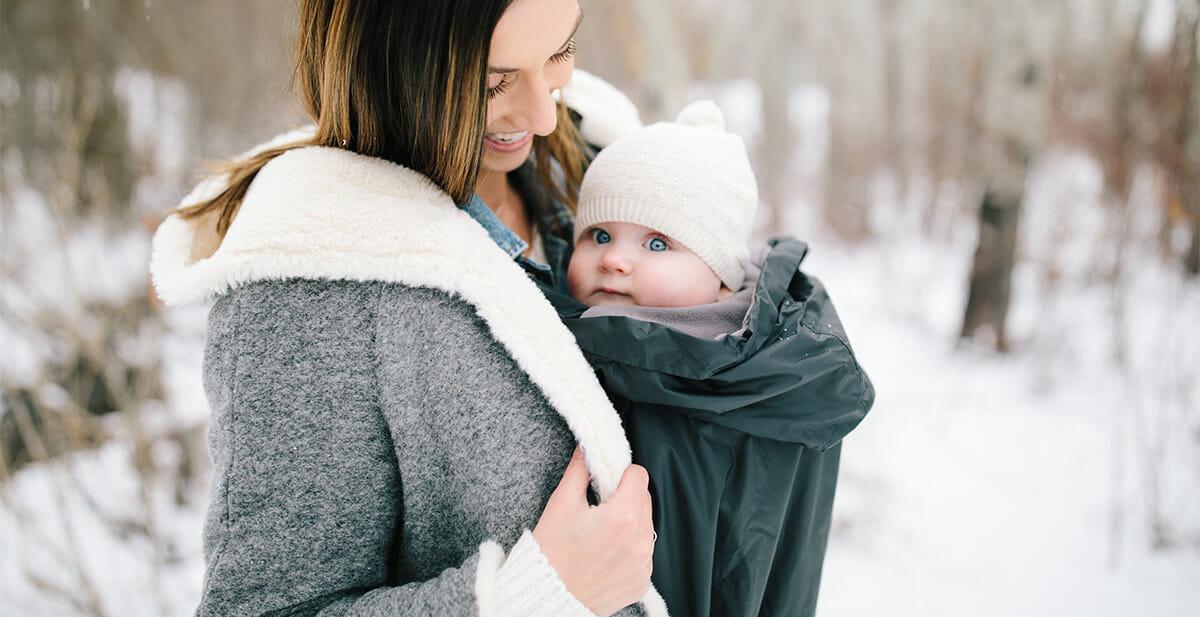 Babytragen im Winter mit Wintercover