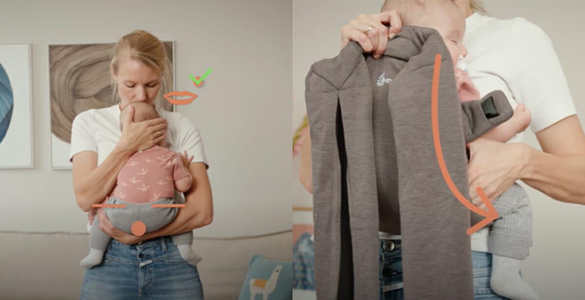 Ergobaby Embrace Tutorial Anleitung Baby korrekt positionieren Video